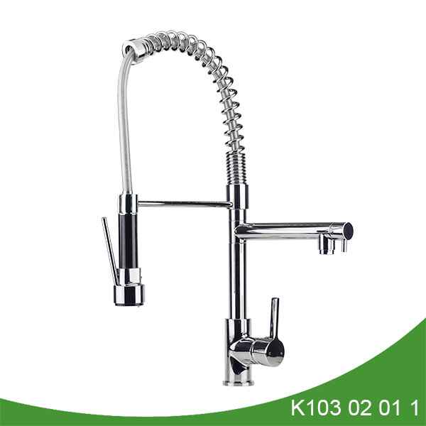 Pull down spray kitchen faucet