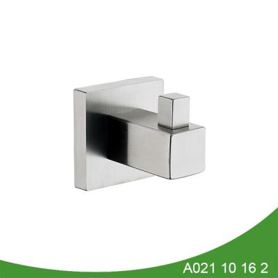Modern single brushed nickel robe hook